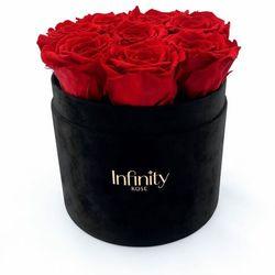 Flower box Infinity Rose czerwone róże wieczne w czarnym welurowym pudełku Velvet
