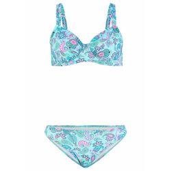 Bikini na fiszbinach (2 części) bonprix turkusowo-różowy paisley