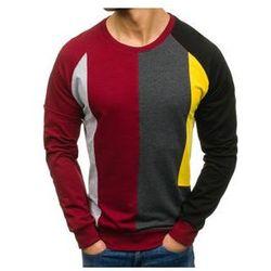 Bluza męska bez nadruku bordowa Denley 0751