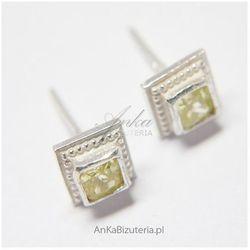 ankabizuteria.pl Kolczyki srebrne z jasno zieloną cyrkonią w kształcie kwadracików