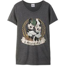 T-shirt z nadrukiem Myszki Miki w ludowym stylu bonprix antracytowy melanż