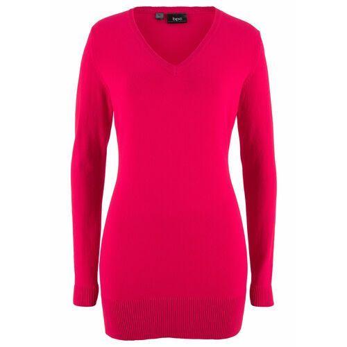Swetry i kardigany, Długi sweter basic z dekoltem w serek bonprix czerwony