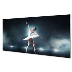 Szklany Panel Biała sukienka balet kobieta