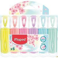Pozostałe artykuły szkolne, Zakre. FLUO PEPS pastel mix kolor. 6 szt etui pud. z zaw. 742558 MAPED