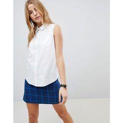 ASOS DESIGN sleeveless shirt in stretch cotton - White