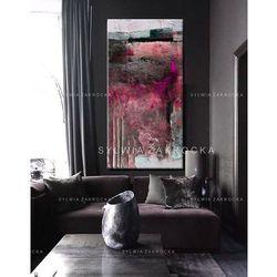 Duże obrazy nowoczesne - ręcznie malowane - fuksjowa fantazja rabat 10%