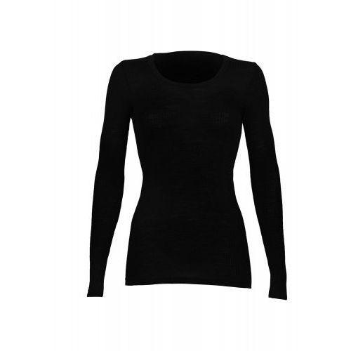 Bielizna lecznicza, Koszulka damska z wełny merynosów (100%) - długie rękawy - prążkowany splot - czarna - DILLING