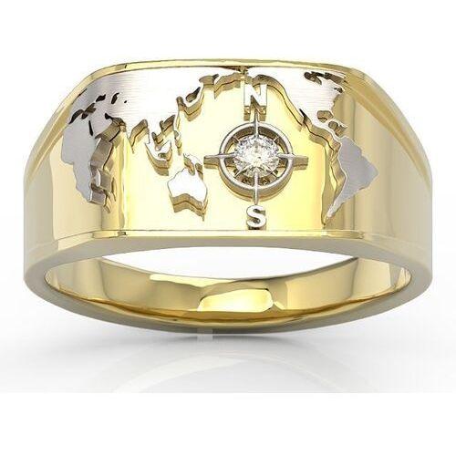 Sygnety, Sygnet morski z żółtego i białego złota z brylantem sj-1406zb