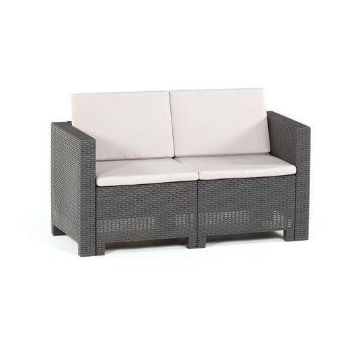 Pozostałe meble ogrodowe, Dwuosobowa technorattanowa sofa Colorado antracyt