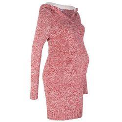 Sukienka dzianinowa ciążowa z kapturem z podszewką bonprix czerwono-biały melanż