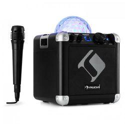 BC-10 zestaw karaoke oświetlenie dyskotekowe LED Bluetooth baterie USB AUX-In czarny