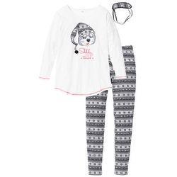 Piżama z opaską na oczy bonprix czarno-biel wełny z nadrukiem