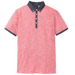 Shirt polo z kołnierzykiem z tkaniny bonprix czerwony melanż