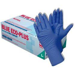 Nitrylowe rękawice ochronne Eco-Plus, bezpudrowe, niebieskie, 100 szt - roz. L