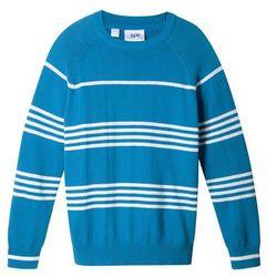 Sweter w paski bonprix lodowy niebieski - biel wełny w paski
