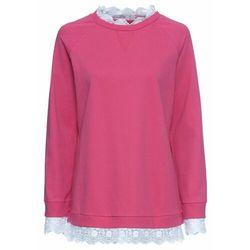 Bluza oversize z koronką bonprix różowy
