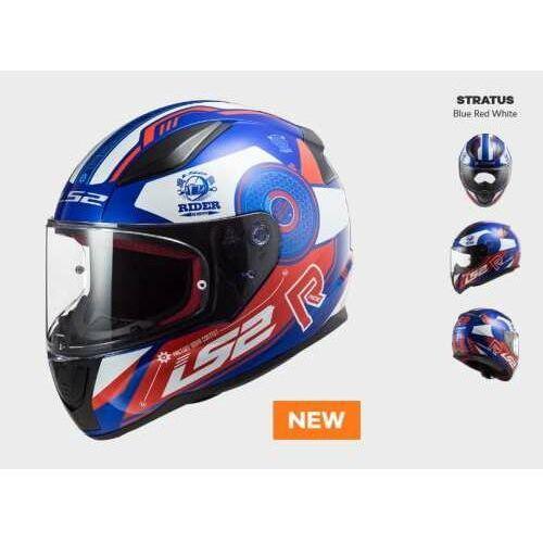 Kaski motocyklowe, KASK MOTOCYKLOWY COMFORT LS2 FF353 RAPID STRATUS BLUE RED WHITE - Nowość 2021 roku