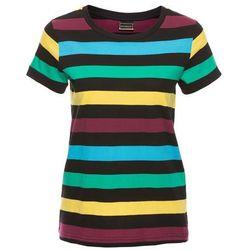 T-shirt w paski bonprix czarno - błękit laguny