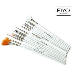 Zestaw pędzelków Nail Art Brush White - 15 szt