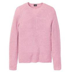 Sweter z okrągłym dekoltem i ozdobnie wywiniętymi brzegami bonprix jasnoróżowy