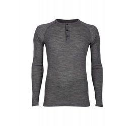 Koszulka/pulower męski z wełny merynosów (100%) z guzikami - - długie rękawy - szary melanż - DILLING