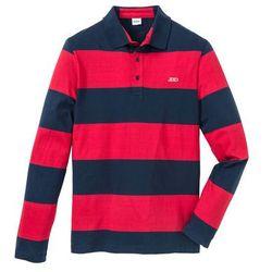 Shirt polo z długim rękawem bonprix czerwono-ciemnoniebieski w paski
