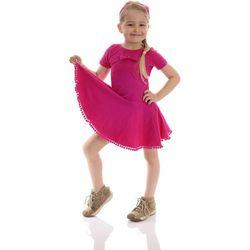 Bajeczna sukienka dla dziewczynki z POMPONAMI i kokardką fuksjowa