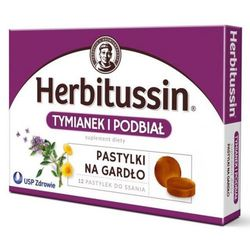 Herbitussin Tymianek i Podbiał pastylki do ssana 12szt