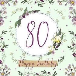 Karnet Swarovski kwadrat Urodziny 80 - Clear Creations