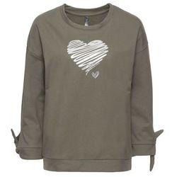Bluza z połyskującym nadrukiem bonprix zielonoszary melanż - srebrny z nadrukiem