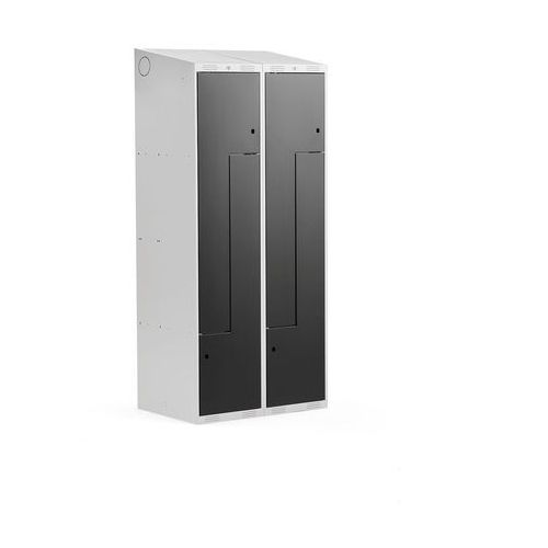 Szafki do przebieralni, Szafka ubraniowa typu Z, CLASSIC, 2 moduły, 4 drzwi, 1900x800x550 mm, czarny
