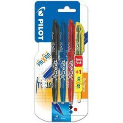 Długopis PILOT FriXion 3x0, 7mm czarny, niebieski, czerwony + zakreślacz