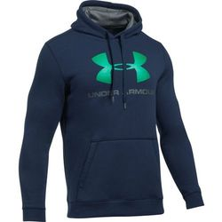 Under Armour Bluza z kapturem RIVAL FITTED GRAPHIC HOODIE Granatowa - Granatowy