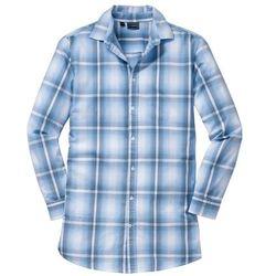 Długa koszula z długim rękawem Slim Fit bonprix jasnoniebieski w kratę