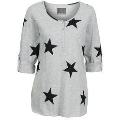 Shirt w gwiazdy bonprix jasnoszary melanż - czarny