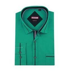 Koszula Męska Speed.A gładka butelkowa zieleń SLIM FIT z granatowymi dodatkami na długi rękaw D860