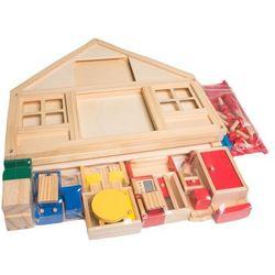 Domek drewniany piętrowy dla lalek z meblami HM010802