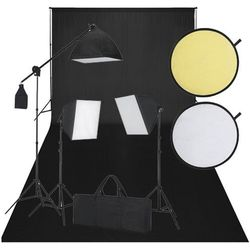 vidaXL Zestaw do studio: czarne tło, 3 lampy światła ciągłego i blenda Darmowa wysyłka i zwroty