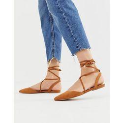 ASOS DESIGN Lawful plaited tie leg pointed ballet flats in tan - Brown