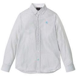 Koszula z długim rękawem w paski bonprix matowy srebrny - biały w paski