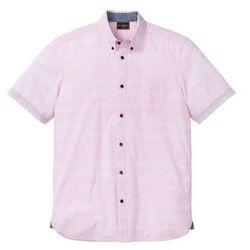 Koszula z krótkim rękawem, w delikatne paski bonprix kryształowy jasnoróżowy w paski
