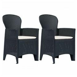 Fotele na taras z poduszkami Campos 2 szt - antracytowe