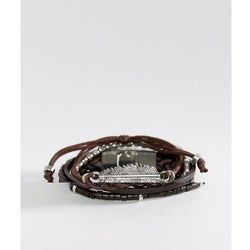 ASOS Leather And Plaited Bracelet Pack With Feather In Brown - Brown