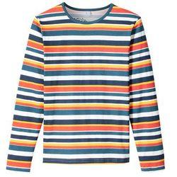 Shirt w paski z długim rękawem bonprix żółty szafranowy - niebieskozielony - biały w paski