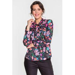 Granatowa koszula w kwiaty - Duet Woman