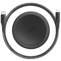 UNIQ kabel MFI Halo USB-C-Lightning 18W nylonowy zwijany 1,2m czarny/midnight black - Czarnoszary
