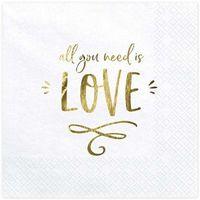 """Serwetki, Serwetki """"All you need is love"""", biały, PartyDeco, 33 cm, 20 szt"""