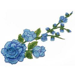Naszywka niebieska gałązka i kwiat 29,5cm x 12,5cm - NIEBIESKA