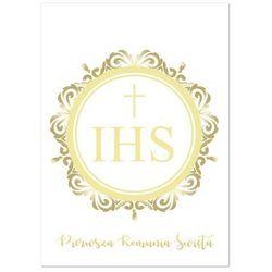 Zaproszenia personalizowane na I Komunię Świętą z ornamentem - 8 szt.