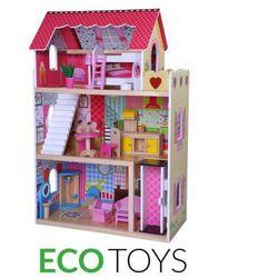 """Drewniany domek dla lalek """"Nowa Rezydencja Malinowa"""" z windą"""